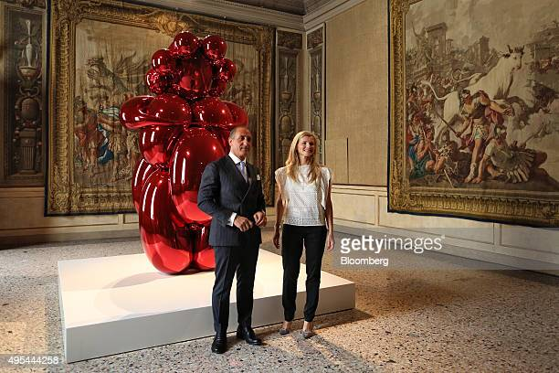 Beatrice Trussardi president of the Nicola Trussardi Foundation right and Domenico Piraina director of the Palazzo Reale pose for a photograph in...