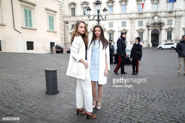 Beatrice Vendramin and Eleonora Gaggero arrive at the 61 David Di Donatello nominees presentation at Palazzo del Quirinale on March 27 2017 in Rome...