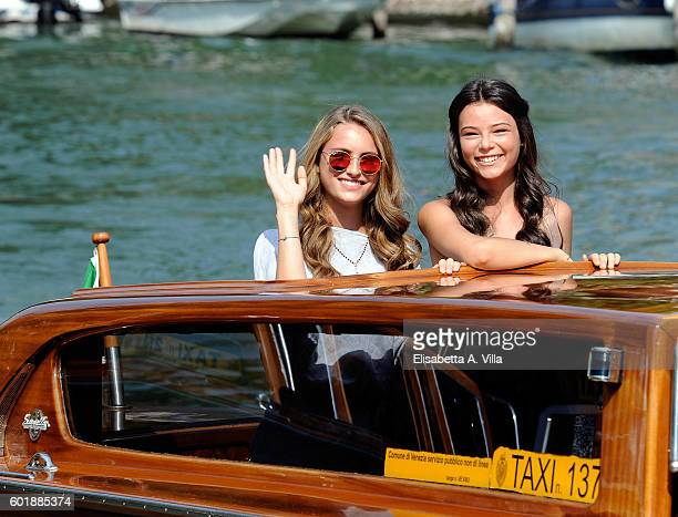 Beatrice Vendramin and Eleonora Gaggero of the TV series 'Alex Co' arrive at the Excelsior Darsena on September 10 2016 in Venice Italy