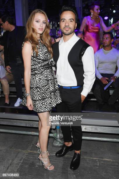 Beatrice Vendramin and Luis Fonsi arrive at the Dsquared2 show during Milan Men's Fashion Week Spring/Summer 2018 on June 18 2017 in Milan Italy