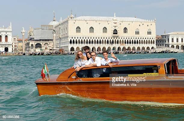 Beatrice Vendramin Federico Russo Eleonora Gaggero Saul Nanni and Leonardo Checchi of the TV series 'Alex Co' are seen in Venice on September 10 2016...