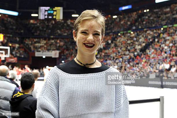 Beatrice Vio Gold Medal at Paraolympic Games in Rio de Janeiro 2016 poses before 2016/2017 Turkish Airlines EuroLeague Regular Season Round 4 game...