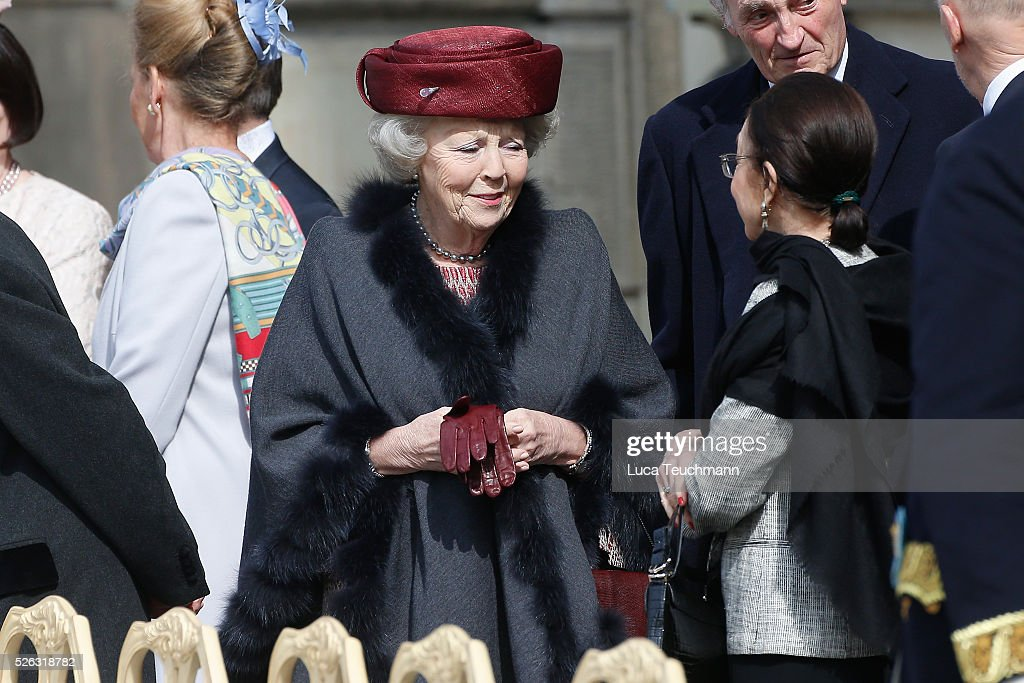 Beatrix of the Netherlands is seen at the celebrations of the Swedish Armed Forces for the 70th birthday of King Carl Gustaf of Sweden on April 30, 2016 in Stockholm, Sweden.