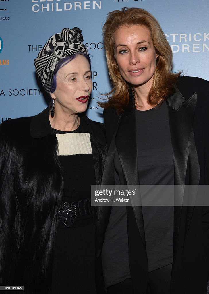 Beatrix Ost (L) and Frederique van der Wal and guest attend The Cinema Society & Make Up For Ever screening of 'Electrick Children' at IFC Center on March 4, 2013 in New York City.