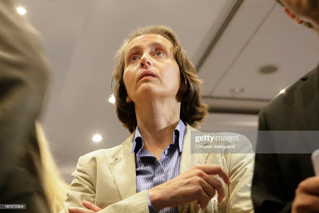 Beatrix von Storch, candidate from Alternative fuer Deutschland (AfD) reacts to initial exit poll results that give the party 4.8% of the vote in German federal elections at AfD party headquarters on September 22, 2013 in Berlin, Germany. Germany is holding federal elections that will determine whether current Chancellor Angela Merkel of the German Christian Democrats (CDU) will remain for a third term. Though the CDU has a strong lead over the opposition, speculations run wide as to what coalition will be viable in coming weeks to create a new government.