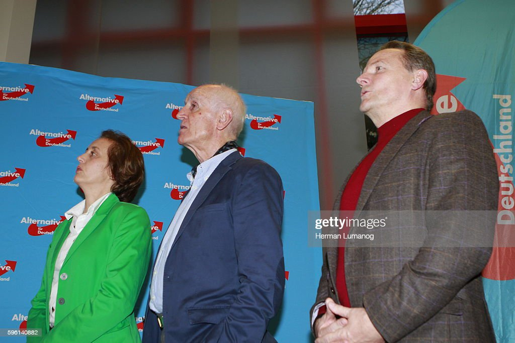 Beatrix von Storch deputy chairman of the party AfD and Member of the European Parliament and Albrecht Glaser and Georg Pazderski during the election...