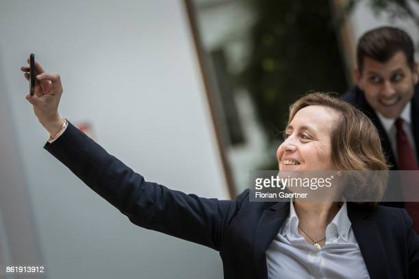Beatrix von Storch Deputy Leader of the Alternative for Germany takes a selfie on October 16 2017 in Berlin Germany
