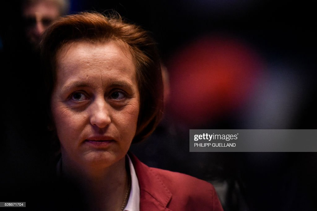 Beatrix von Storch, deputy leader of the german right wing party Alternative for Germany (AfD) attends the party congress at the Stuttgart Congress Centre ICS on April 30, 2016. The Alternative for Germany (AfD) party is meeting in the western city of Stuttgart, where it is expected to adopt an anti-Islamic manifesto, emboldened by the rise of European anti-migrant groups like Austria's Freedom Party. / AFP / Philipp GUELLAND