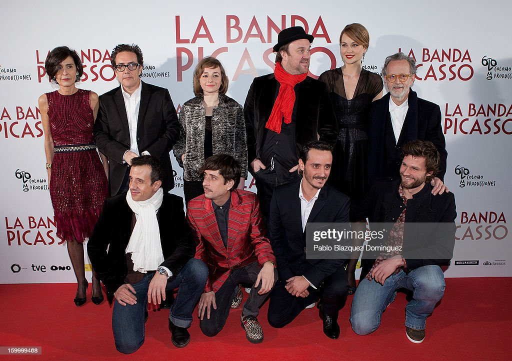 Beatriz de la Gandara, guest, Eszter Tompa, Pierre Benezit, Raphaelle Agogue and Fernando Colomo, (front row, L-R) David Coburn, Jordi Vilches, guest and Alexis Michalik attends 'La Banda Picasso' Premiere at Capitol Cinema on January 24, 2013 in Madrid, Spain.
