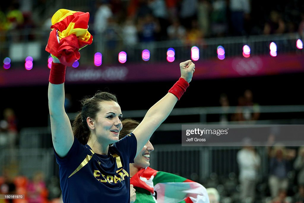 Beatriz Fernandez Ibanez #7 of Spain celebrates after defeating South Korea in the Women's Handball Bronze Medal Match on Day 15 of the London 2012 Olympics Games at Basketball Arena on August 11, 2012 in London, England.