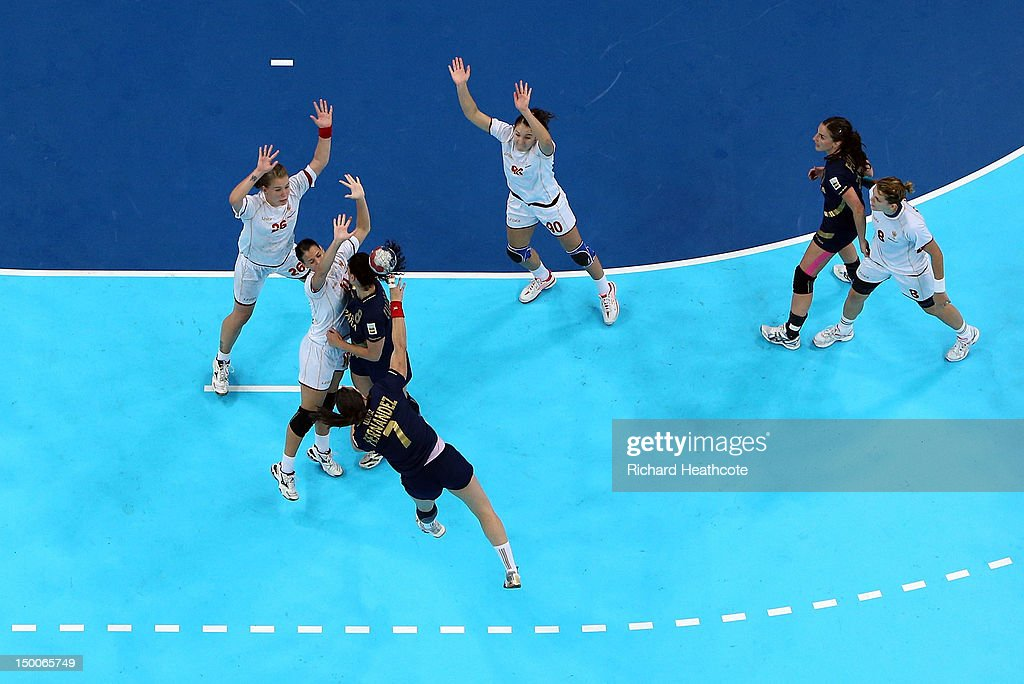 Beatriz Fernandez Ibanez of Spain has a shot blocked during the Women's Handball Semi Final between Spain and Montenegro on Day 13 of the London 2012 Olympic Games at the Basketball Arena on August 9, 2012 in London, England.