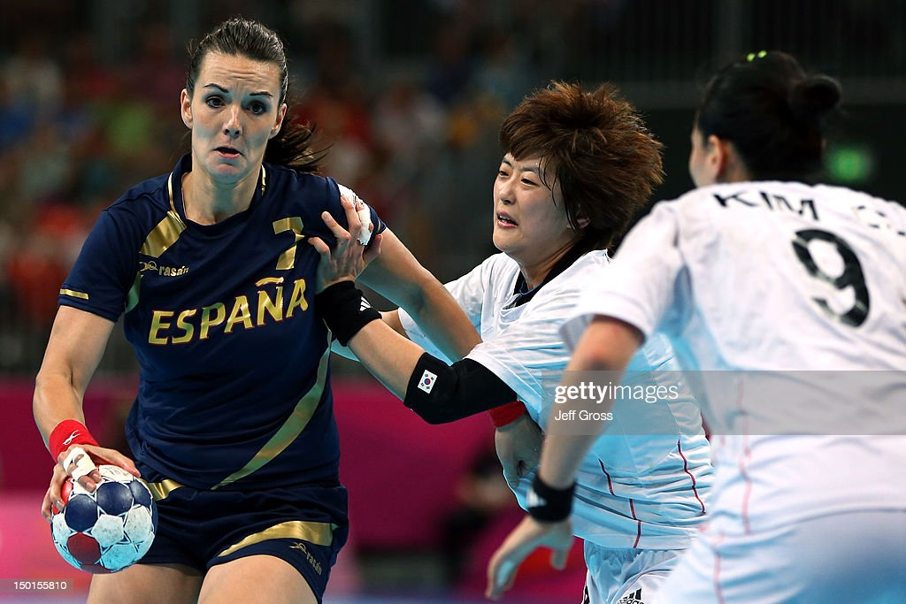 Beatriz Fernandez Ibanez #7 of Spain looks to throw the ball against South Korea during the Women's Handball Bronze Medal Match on Day 15 of the London 2012 Olympics Games at Basketball Arena on August 11, 2012 in London, England.