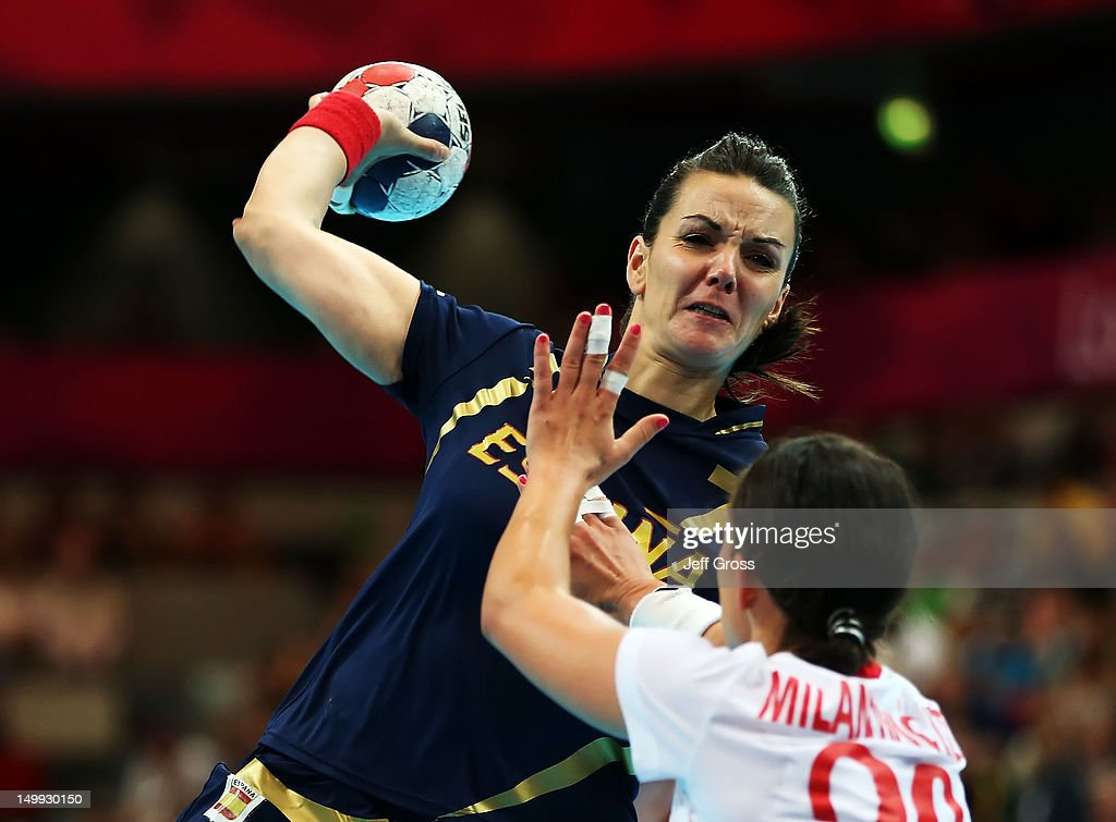 Beatriz Fernandez Ibanez #7 of Spain shoots over Vesna Milanovic-Litre #20 of Croatia during the Women's Quarterfinal match between Spain and Croatia on Day 11 of the London 2012 Olympic Games at The Copper Box on August 7, 2012 in London, England.