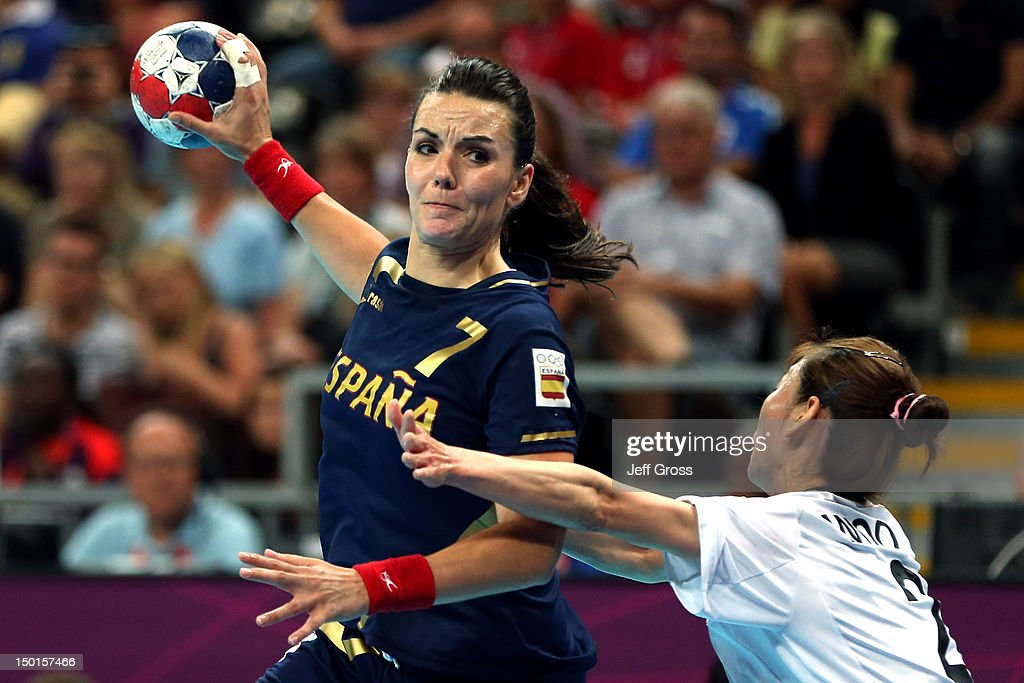 Beatriz Fernandez Ibanez #7 of Spain shoots the ball against South Korea during the Women's Handball Match on Day 15 of the London 2012 Olympics Games at Basketball Arena on August 11, 2012 in London, England.