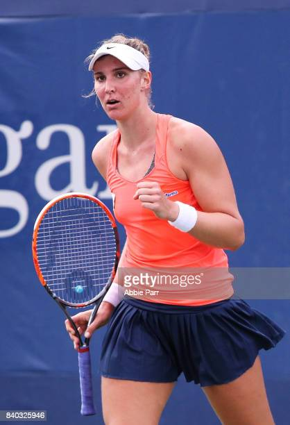Beatriz Haddad Maia reacts during her first round Women's Singles match against Donna Vekic of Croatia on Day One of the 2017 US Open at the USTA...