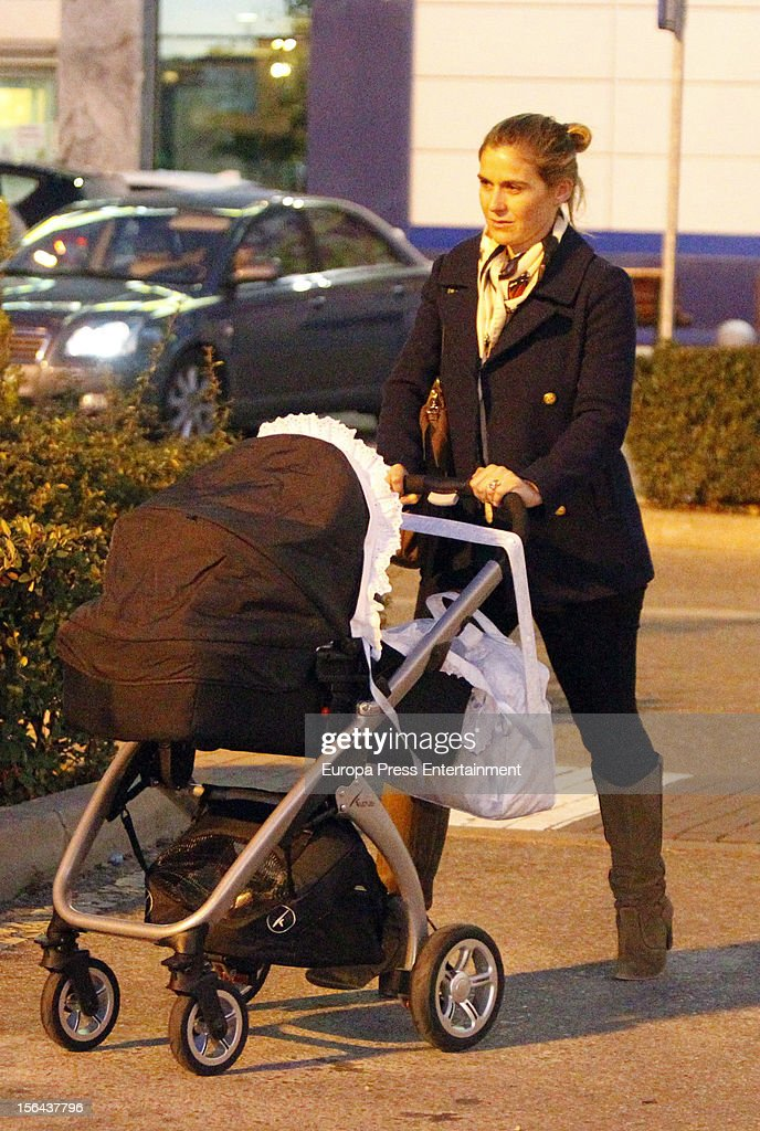 Beatriz Mira and her newborn Alvaro Fuster are seen on November 14, 2012 in Madrid, Spain.