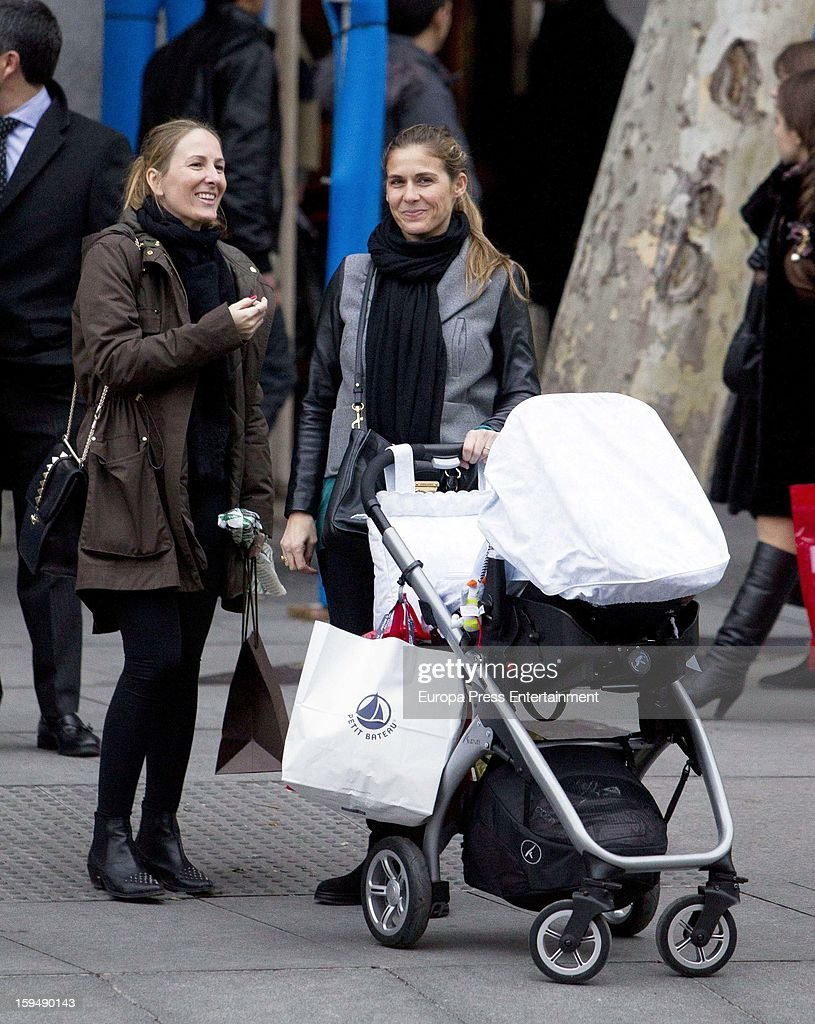 Beatriz Mira (R) and her newborn Alvaro Fuster Jr are seen on January 13, 2013 in Madrid, Spain.