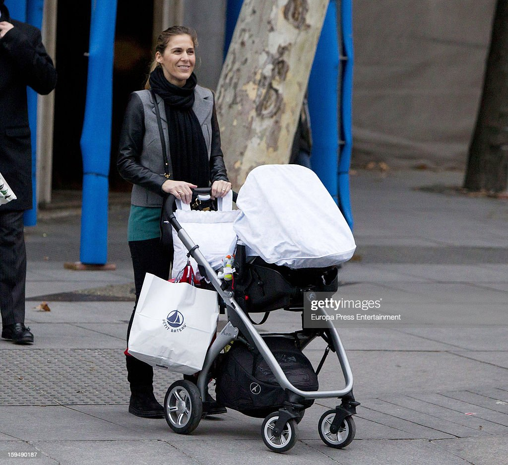 Beatriz Mira and her newborn Alvaro Fuster Jr are seen on January 13, 2013 in Madrid, Spain.