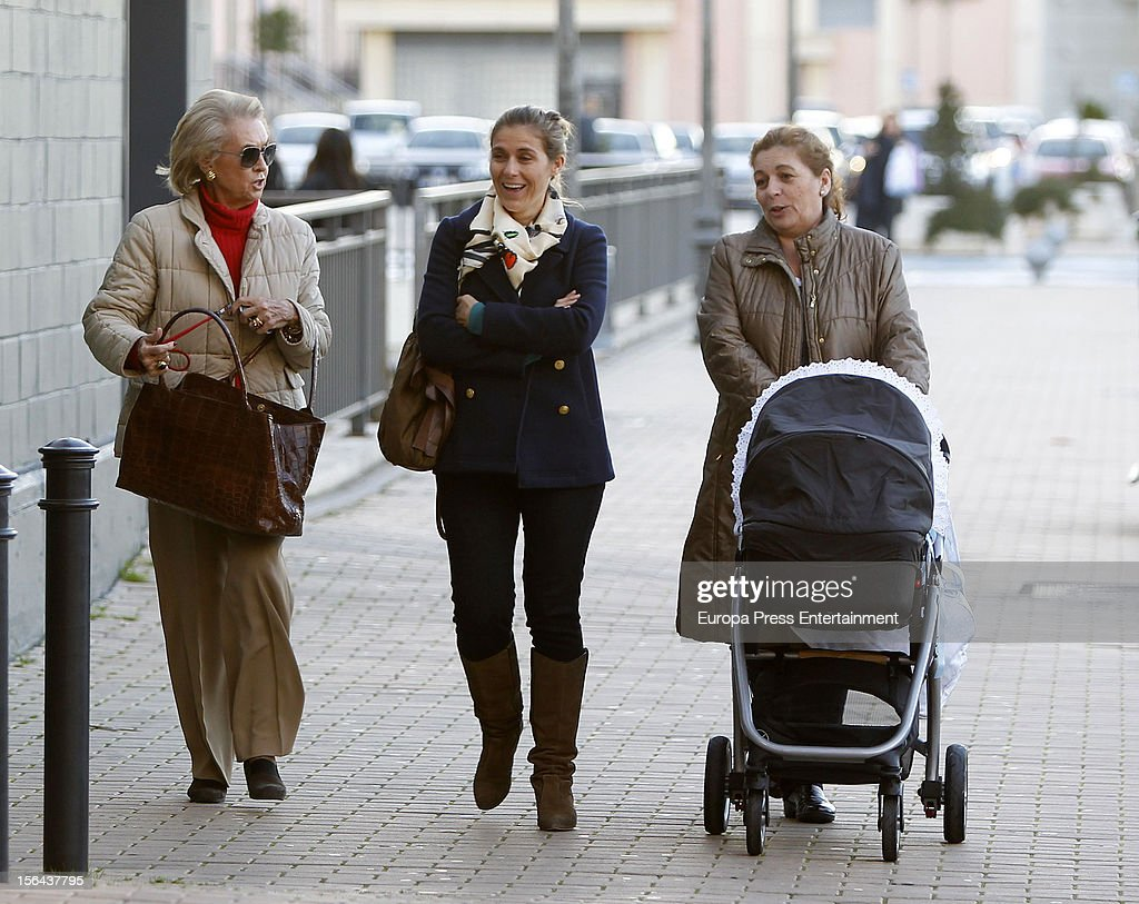Beatriz Mira (C), her mother-in-law Carmen Garaizabal (L) and her newborn Alvaro Fuster are seen on November 14, 2012 in Madrid, Spain.