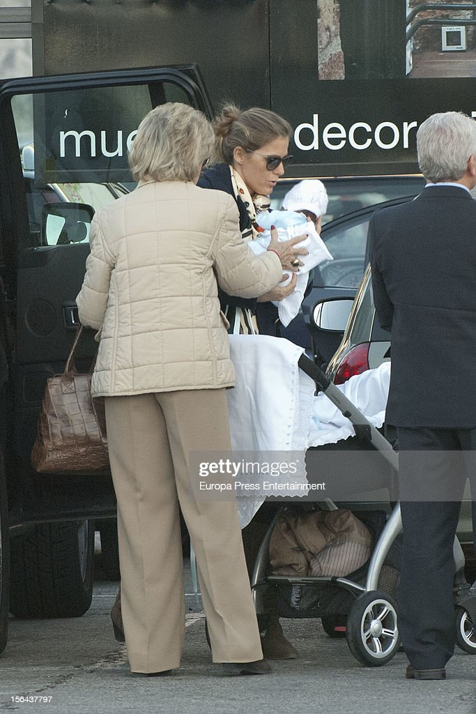 Beatriz Mira, her mother-in-law Carmen Garaizabal and her newborn Alvaro Fuster are seen on November 14, 2012 in Madrid, Spain.