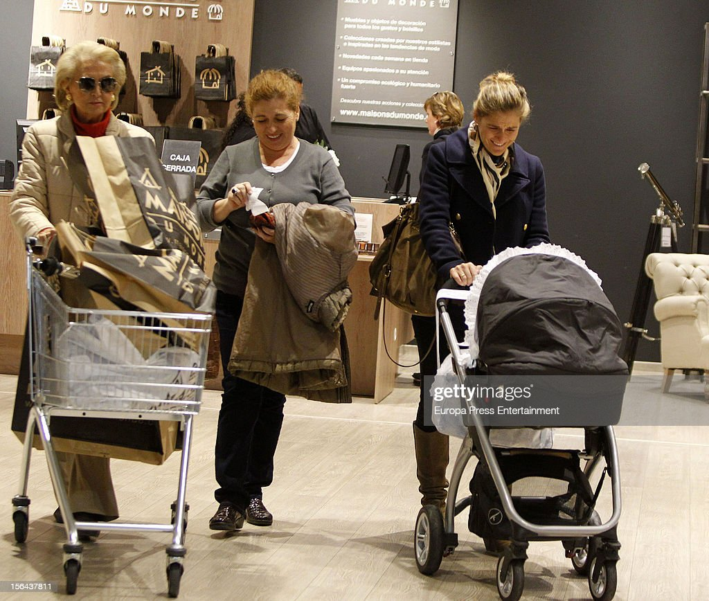 Beatriz Mira (R), her mother-in-law Carmen Garaizabal (L) and her newborn Alvaro Fuster are seen on November 14, 2012 in Madrid, Spain.