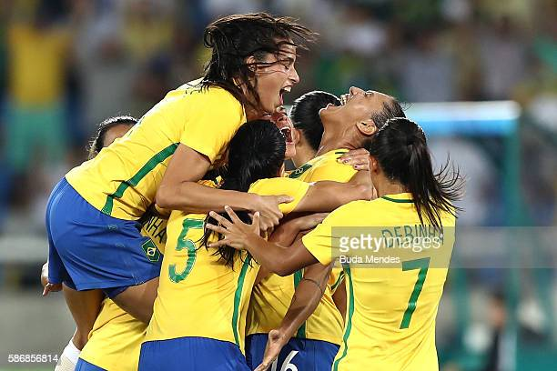 Beatriz of Brazil celebrates after scoring Brazil's fifth goal during the Women's Group E first round match between Brazil and Sweden on Day 1 of the...