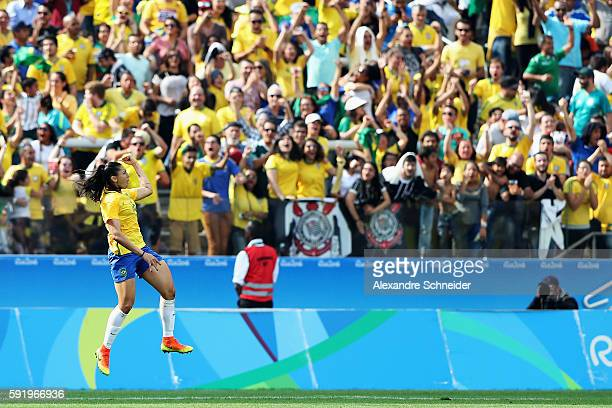 Beatriz of Brazil celebrates scoring during the Women's Olympic Football Bronze Medal match between Brazil and Canada at Arena Corinthians on August...