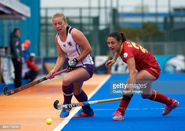Beatriz Perez of Spain competes for the ball with Kareena Cuthbert of Scotland during the match between Spain and Scotland during day five of the...