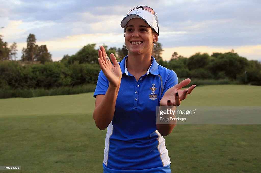 Beatriz Recari of Spain and the European Team celebrates after defeating Angela Stanford of the United States Team 2&1 on the 17th hole during the final day singles matches of the 2013 Solheim Cup on August 18, 2013 at the Colorado Golf Club in Parker, Colorado. The European Team defeated the United States Team 18-10 to win the Solheim Cup.
