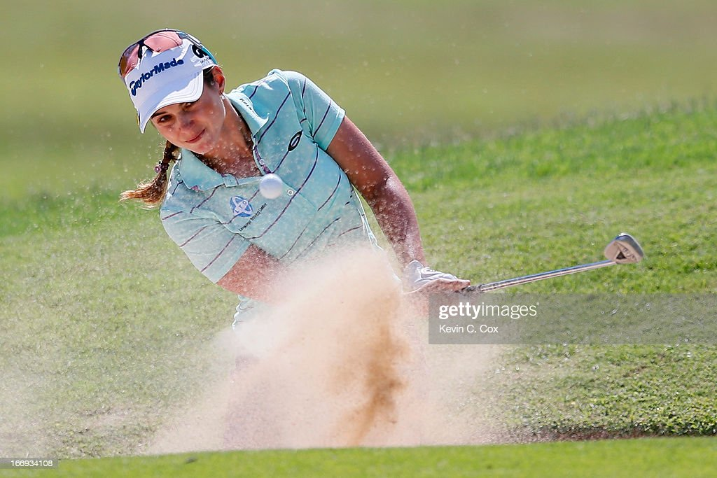 Beatriz Recari of Spain chips out of the sand onto the ninth green during the second round of the LPGA LOTTE Championship Presented by J Golf at the Ko Olina Golf Club on April 18, 2013 in Kapolei, Hawaii.