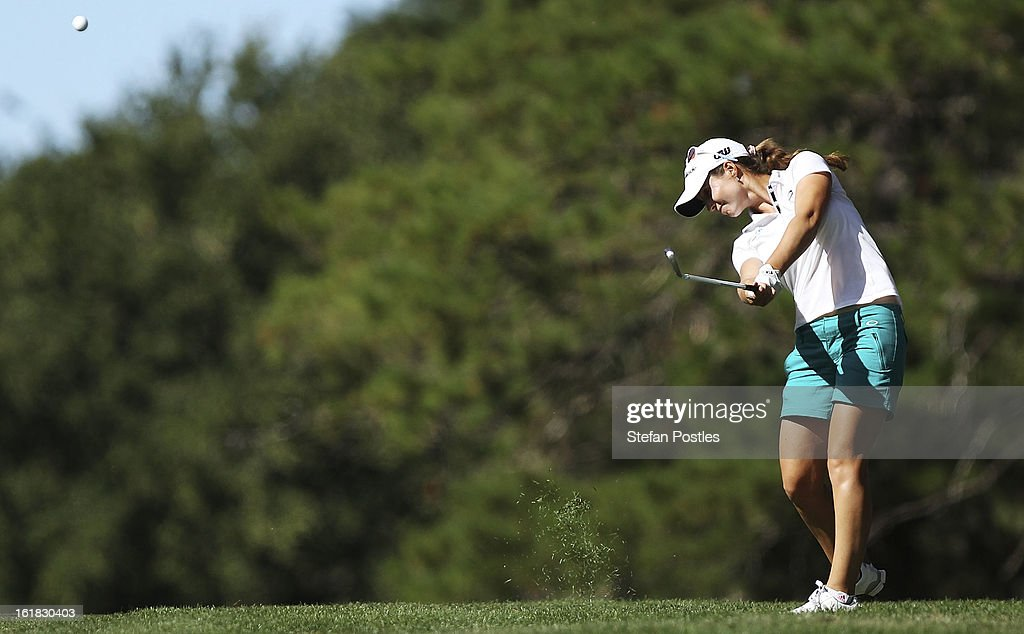 <a gi-track='captionPersonalityLinkClicked' href=/galleries/search?phrase=Beatriz+Recari&family=editorial&specificpeople=2259558 ng-click='$event.stopPropagation()'>Beatriz Recari</a> of Spain hits down the 16th fairway during day four of the ISPS Handa Australian Open at Royal Canberra Golf Club on February 17, 2013 in Canberra, Australia.