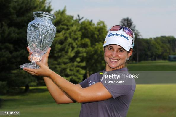 Beatriz Recari of Spain holds the championship trophy after winning the Marathon Classic presented by Owens Corning OI on July 21 2013 in Sylvania...