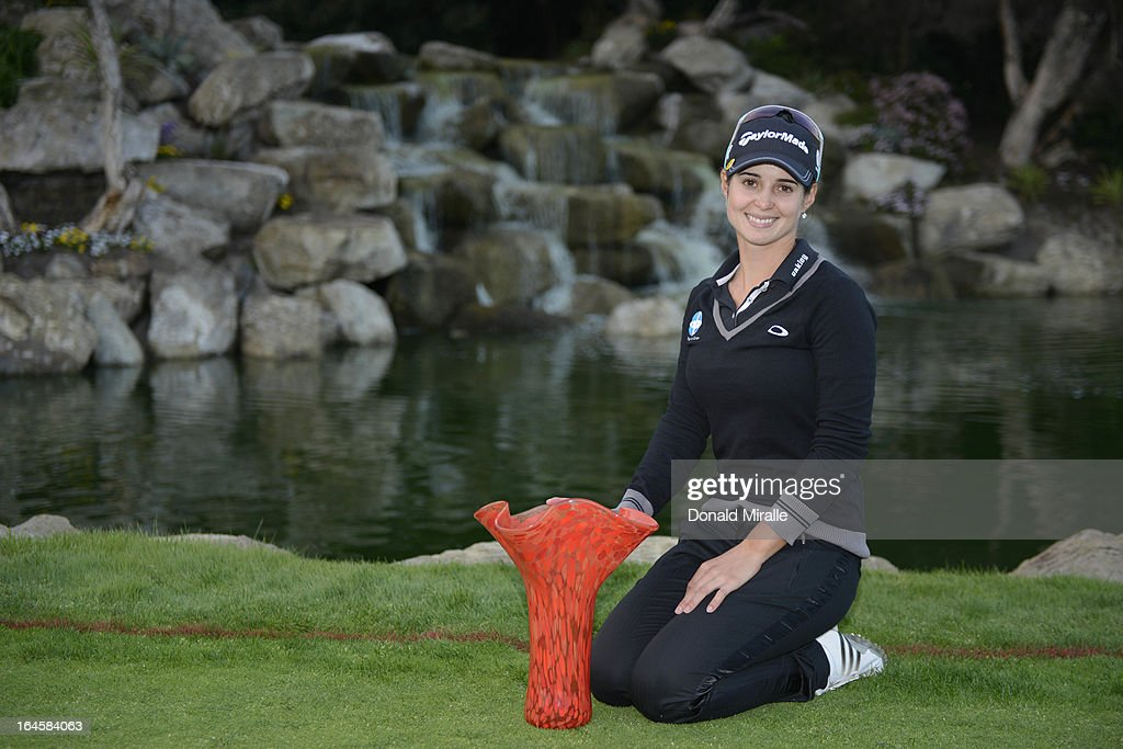 Beatriz Recari of Spain poses with the winner's trophy after her -9 under par, 2-hole playoff victory over I.K. Kim of South Korea during the Final Round of the LPGA 2013 Kia Classic at the Park Hyatt Aviara Resort on March 24, 2013 in Carlsbad, California.
