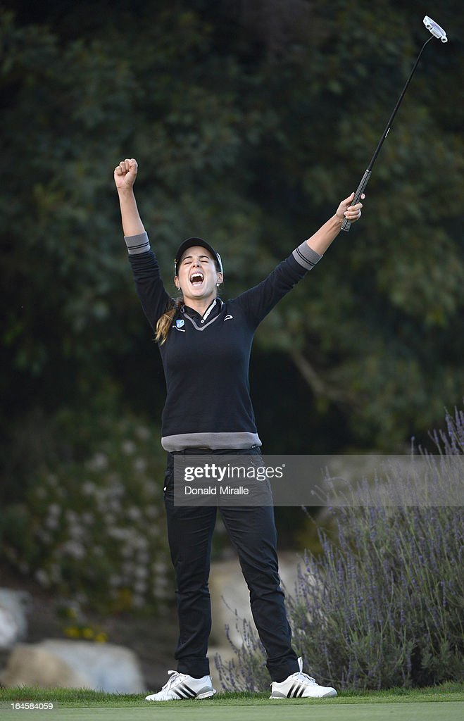 Beatriz Recari of Spain reacts to her winning putt en route to her -9 under par, 2-hole playoff victory over I.K. Kim of South Korea during the Final Round of the LPGA 2013 Kia Classic at the Park Hyatt Aviara Resort on March 24, 2013 in Carlsbad, California.