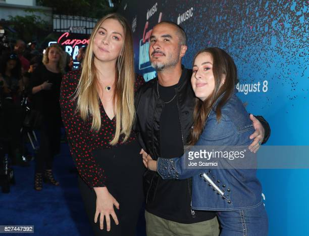 Beats 1 creative director Zane Lowe and Este Haim and Alana Haim of HAIM at Apple Music Launch Party Carpool Karaoke The Series with James Corden on...