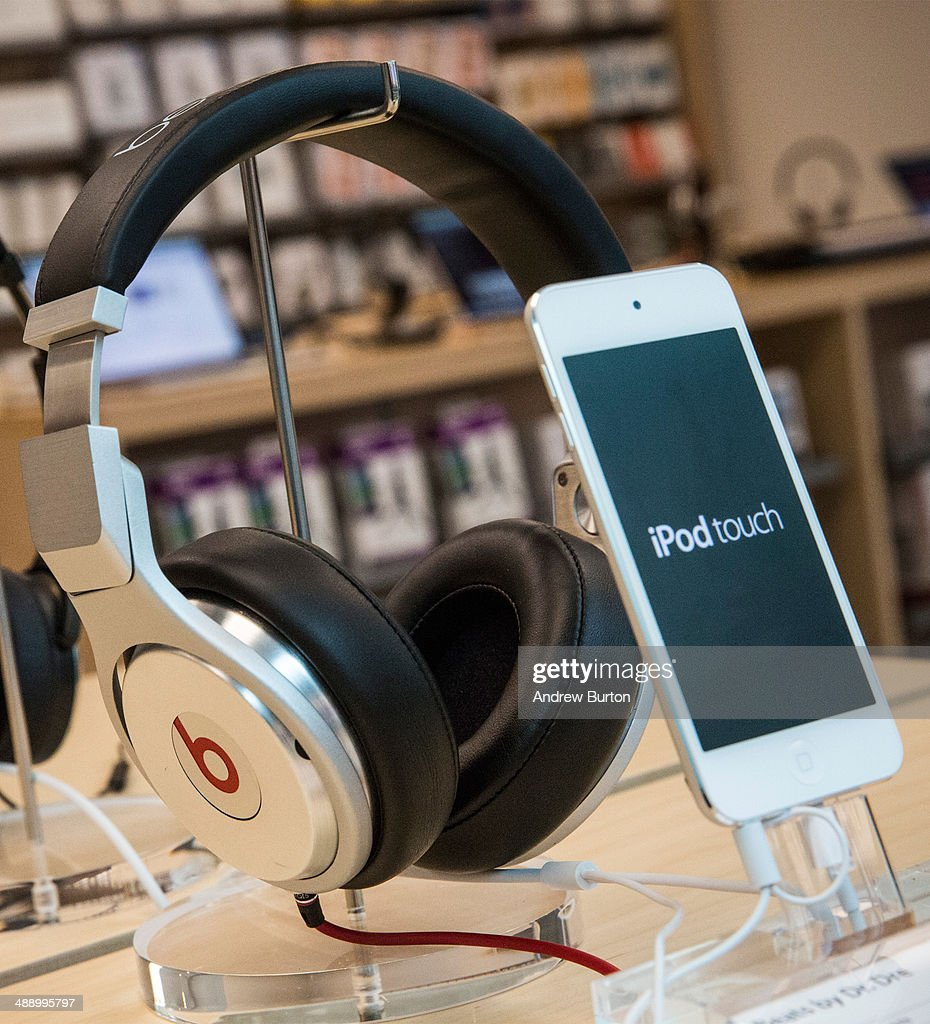 Beats headphones are sold along side iPods in an Apple store on May 9, 2014 in New York City. Apple is rumored to be consideringing buying the headphone company for $3.2 billion.