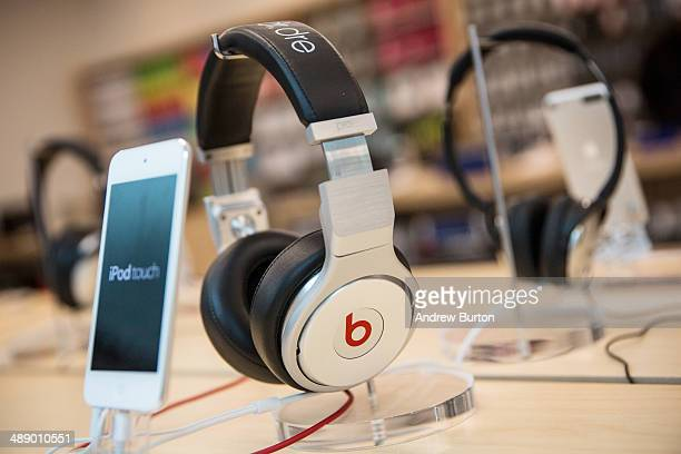 Beats headphones are sold along side iPods in an Apple store on May 9 2014 in New York City Apple is rumored to be consideringing buying the...