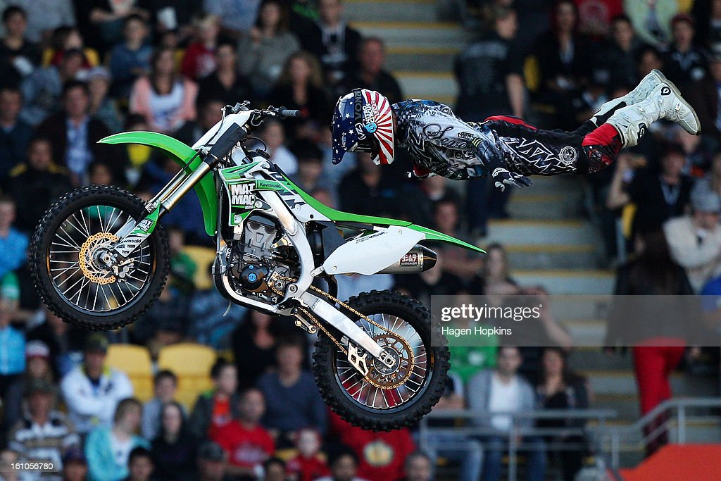 Beau Bamburg performs an FMX stunt during Nitro Circus Live at Westpac Stadium on February 9 2013 in Wellington New Zealand