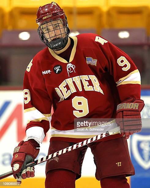 denver university hockey jersey. beau bennett of denver university warms up before a game with the minnesota february hockey jersey h