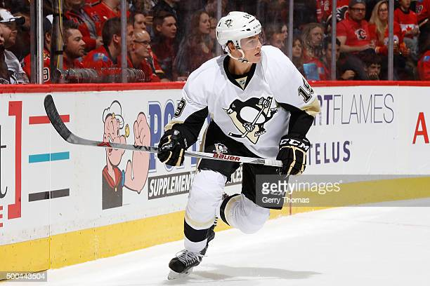 Beau Bennett of the Pittsburgh Penguins skates against the Calgary Flames during an NHL game at Scotiabank Saddledome on November 7 2015 in Calgary...