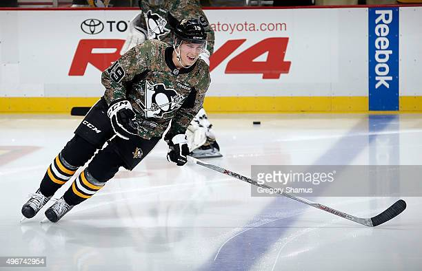 Beau Bennett of the Pittsburgh Penguins warms up while wearing a Military Appreciation Night jersey prior to the game against the Montreal Canadiens...