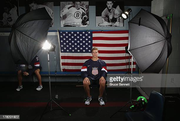 Beau Bennett poses after being named a candidate for the 2014 USA Hockey Olympic Team at the Kettler Capitals Iceplex on August 26 2013 in Arlington...