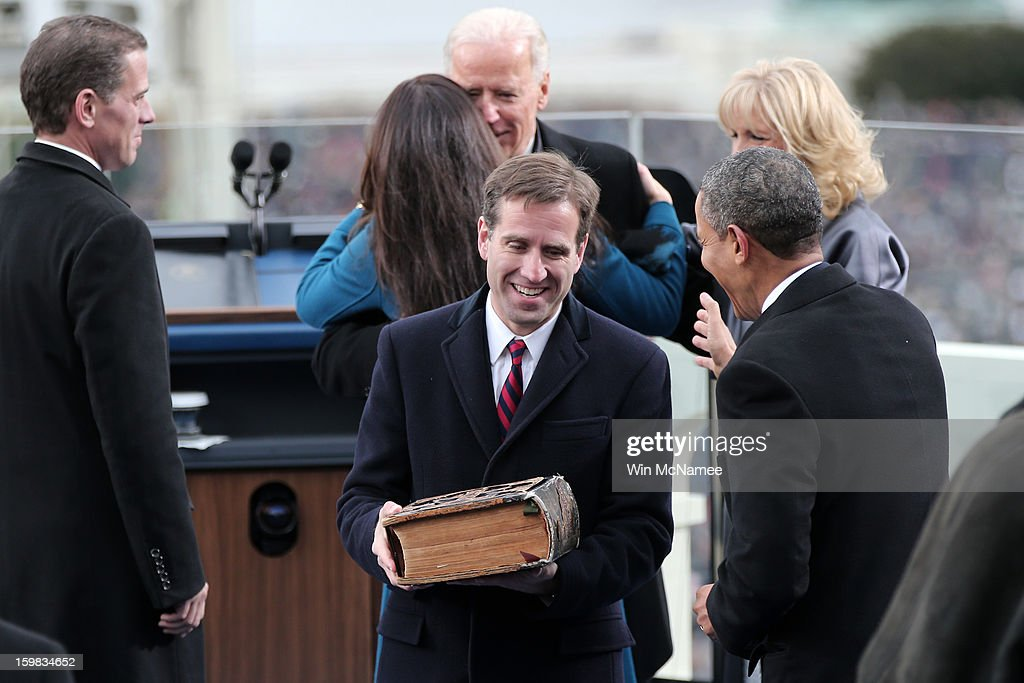<a gi-track='captionPersonalityLinkClicked' href=/galleries/search?phrase=Beau+Biden&family=editorial&specificpeople=997123 ng-click='$event.stopPropagation()'>Beau Biden</a> and U.S. President <a gi-track='captionPersonalityLinkClicked' href=/galleries/search?phrase=Barack+Obama&family=editorial&specificpeople=203260 ng-click='$event.stopPropagation()'>Barack Obama</a> after U.S. Vice President Joe Biden is sworn in during the public ceremonial inauguration on the West Front of the U.S. Capitol January 21, 2013 in Washington, DC. <a gi-track='captionPersonalityLinkClicked' href=/galleries/search?phrase=Barack+Obama&family=editorial&specificpeople=203260 ng-click='$event.stopPropagation()'>Barack Obama</a> was re-elected for a second term as President of the United States.