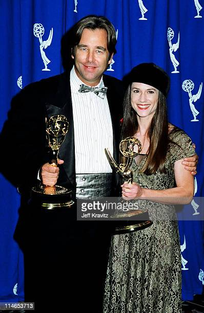 Beau Bridges and Holly Hunter during 1993 Emmy Awards Press Room in Los Angeles CA United States