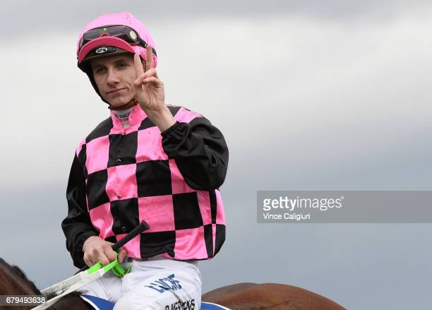 Beau Mertens after riding Hot Ruby to win Race 6 during Melbourne Racing at Flemington Racecourse on May 6 2017 in Melbourne Australia