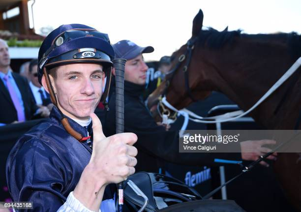 Beau Mertens after riding Pedrena to win Race 2 during Melbourne Racing at Flemington Racecourse on June 10 2017 in Melbourne Australia