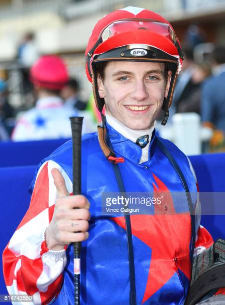 Beau Mertens after riding Schism to win Race 9 during Melbourne Racing at Caulfield Racecourse on July 15 2017 in Melbourne Australia