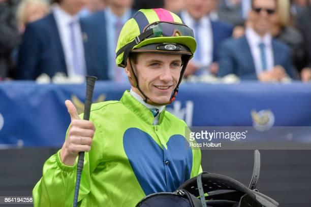 Beau Mertens after riding Snitty Kitty to win the Harrolds Caulfield Sprint at Caulfield Racecourse on October 21 2017 in Caulfield Australia