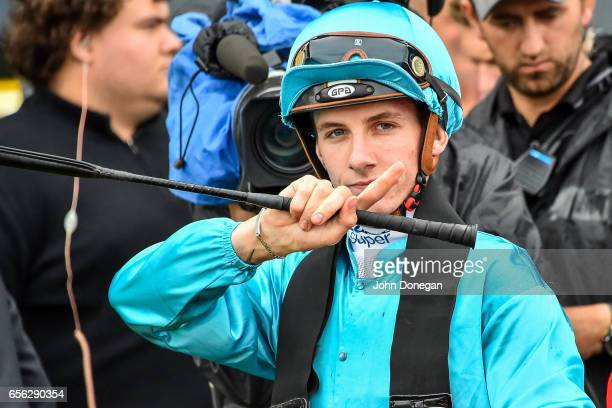 Beau Mertens after winning the Elaren Security Services Handicap at Ladbrokes Park Hillside Racecourse on March 22 2017 in Springvale Australia