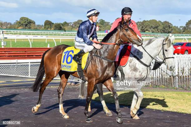 Beau Mertens returns to the mounting yard aboard Diamond Grace after winning the Spicer Thoroughbreds Handicap at Ladbrokes Park Hillside Racecourse...